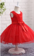 Red Ball Gown Jewel Tea Length Kid's Prom Dresses(FG12814)