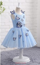 Sky Blue Tulle Princess Jewel Tea Length Kid's Prom Dresses(FG13801)