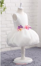 White Tulle Ball Gown Jewel Knee Length Kid's Prom Dresses(FG13819)