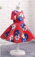 Red Printing Princess Jewel Short Sleeve Tea Length Kid's Prom Dresses(FG13820)