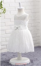 Ivory Lace A Line Jewel Tea Length Kid's Prom Dresses(FG14807)