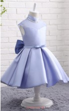 Lavender Satin A Line High Neck Tea Length Kid's Prom Dresses(FG14817)