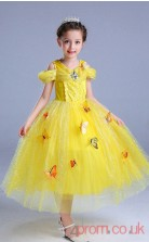 Yellow Tulle,Lace Princess Off The Shoulder Short Sleeve Tea-length Children's Prom Dresses(FGD243)