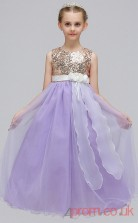 Purple Sequined,Chiffon Princess Jewel Floor-length Children's Prom Dresses(FGD245)