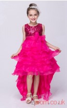 Deep Pink Organza,Sequined Princess Jewel Asymmetrical Children's Prom Dresses(FGD251)