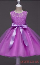 Deep Orchid Lace,Organza Princess Jewel Knee-length Children's Prom Dresses(FGD253)