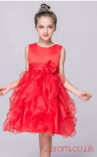 Red Organza Princess Jewel Knee-length Children's Prom Dresses(FGD254)
