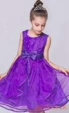 Blue Violet Organza Princess Jewel Knee-length Children's Prom Dresses(FGD255)
