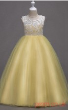 Champange Lace,Tulle Ball Gown Jewel Floor-length Children's Prom Dresses(FGD258)
