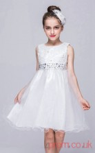 Ivory Lace,Organza A-line Jewel Short/Mini Children's Prom Dresses(FGD263)