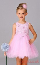 Candy Pink Lace,Tulle Princess Jewel Short/Mini Children's Prom Dresses(FGD266)