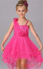 Deep Pink Tulle Princess One Shoulder Asymmetrical Children's Prom Dresses(FGD267)