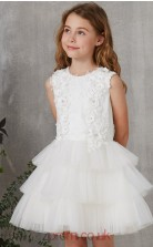 White Organza Jewel Short Sleeve Mini Princess Children's Prom Dress (FGD270)