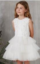 White Organza Jewel Short Sleeve Mini Princess Children's Prom Dress (FGD270)