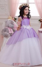 Lilac Organza Satin Illusion Short Sleeve Floor-length Ball Gown Children's Prom Dress (FGD272)