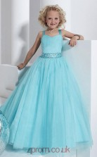 Light Blue Chiffon Straps Sleeveless Floor-length A-line Children's Prom Dress (FGD276)