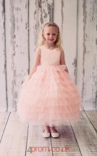 Pearl Pink Organza Tulle Jewel Sleeveless Ankle-length Ball Gown Children's Prom Dress (FGD277)