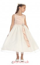 Nude Pink Satin Organza Jewel Sleeveless Tea-length A-line Children's Prom Dress (FGD287)
