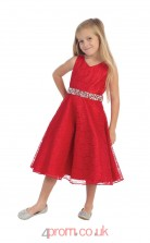 Red Lace V-neck Sleeveless Tea-length A-line Children's Prom Dress (FGD293)