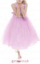 Lilac Tulle Jewel Sleeveless Tea-length Princess Children's Prom Dress (FGD298)