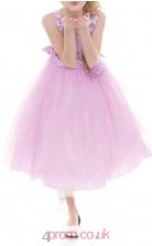 Lilac Tulle Jewel Sleeveless Tea-length Princess Children's Prom Dress (FGD298)