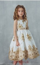 Ivory Satin Lace Jewel Sleeveless Tea-length A-line Children's Prom Dress (FGD299)