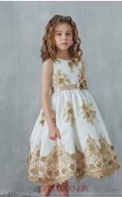Ivory Satin Lace Jewel Sleeveless Tea-length A-line Children's Prom Dress (FGD299)