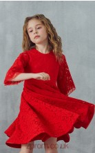 Red Lace Jewel Half Sleeve Mini A-line Children's Prom Dress (FGD305)