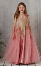 Nude Pink Tulle Strenth Satin Jewel Sleeveless Floor-length A-line Children's Prom Dress (FGD307)