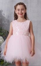 Blushing Pink Lace Tulle Jewel Sleeveless Mini Princess Children's Prom Dress (FGD314)