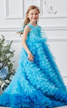 Blue Organza Jewel Sleeveless Floor-length A-line Children's Prom Dress (FGD315)