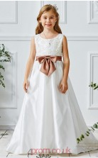 White Taffeta Lace Jewel Sleeveless Floor-length A-line Children's Prom Dress (FGD316)