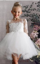 White Lace Tulle Illusion Short Sleeve Mini Princess Children's Prom Dress (FGD317)