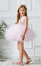 Blushing Pink Tulle Jewel Sleeveless Mini Princess Children's Prom Dress (FGD320)