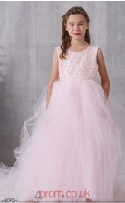 Blushing Pink Lace Tulle Jewel Sleeveless Floor-length Princess Children's Prom Dress (FGD322)