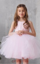 Blushing Pink Tulle Jewel Sleeveless Mini Princess Children's Prom Dress (FGD323)