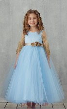 Sky Blue Lace Tulle Jewel Half Sleeve Tea-length Princess Children's Prom Dress (FGD325)