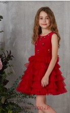 Burgundy Organza Jewel Sleeveless Mini Princess Children's Prom Dress (FGD326)