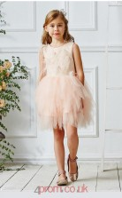Pearl Pink Tulle Jewel Sleeveless Mini Princess Children's Prom Dress (FGD327)