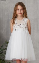 Ivory Tulle Jewel Sleeveless Mini Princess Children's Prom Dress (FGD328)