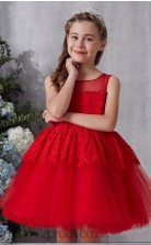 Red Lace Tulle Illusion Sleeveless Mini Ball Gown Children's Prom Dress (FGD334)