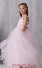 Blushing Pink Lace Tulle Square Sleeveless Ankle-length Princess Children's Prom Dress (FGD335)