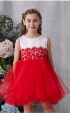 Red Lace Tulle Jewel Sleeveless Mini Princess Children's Prom Dress (FGD336)
