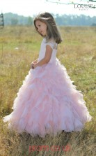 Blushing Pink Lace Tulle Jewel Princess Short Sleeve Floor-length Kids Prom Dresses(FGD337)