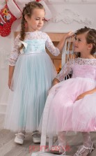Candy Pink Lace Tulle Bateau A-line Half Sleeve Ankle-length Kids Prom Dresses(FGD338)