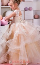 Pearl Pink Lace Tulle Jewel Princess Floor-length Kids Prom Dresses(FGD343)