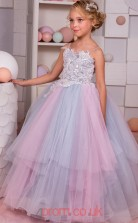 Multipatterned Lace Tulle Straps Ball Gown Floor-length Kids Prom Dresses(FGD344)