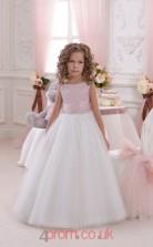 Pink Tulle Bateau A-line Floor-length Kids Prom Dresses(FGD346)
