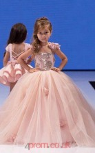 Pearl Pink Tulle Square Ball Gown Short Sleeve Floor-length Kids Prom Dresses(FGD348)
