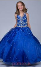 Royal Blue Organza Halter Ball Gown Floor-length Kids Prom Dresses(FGD352)